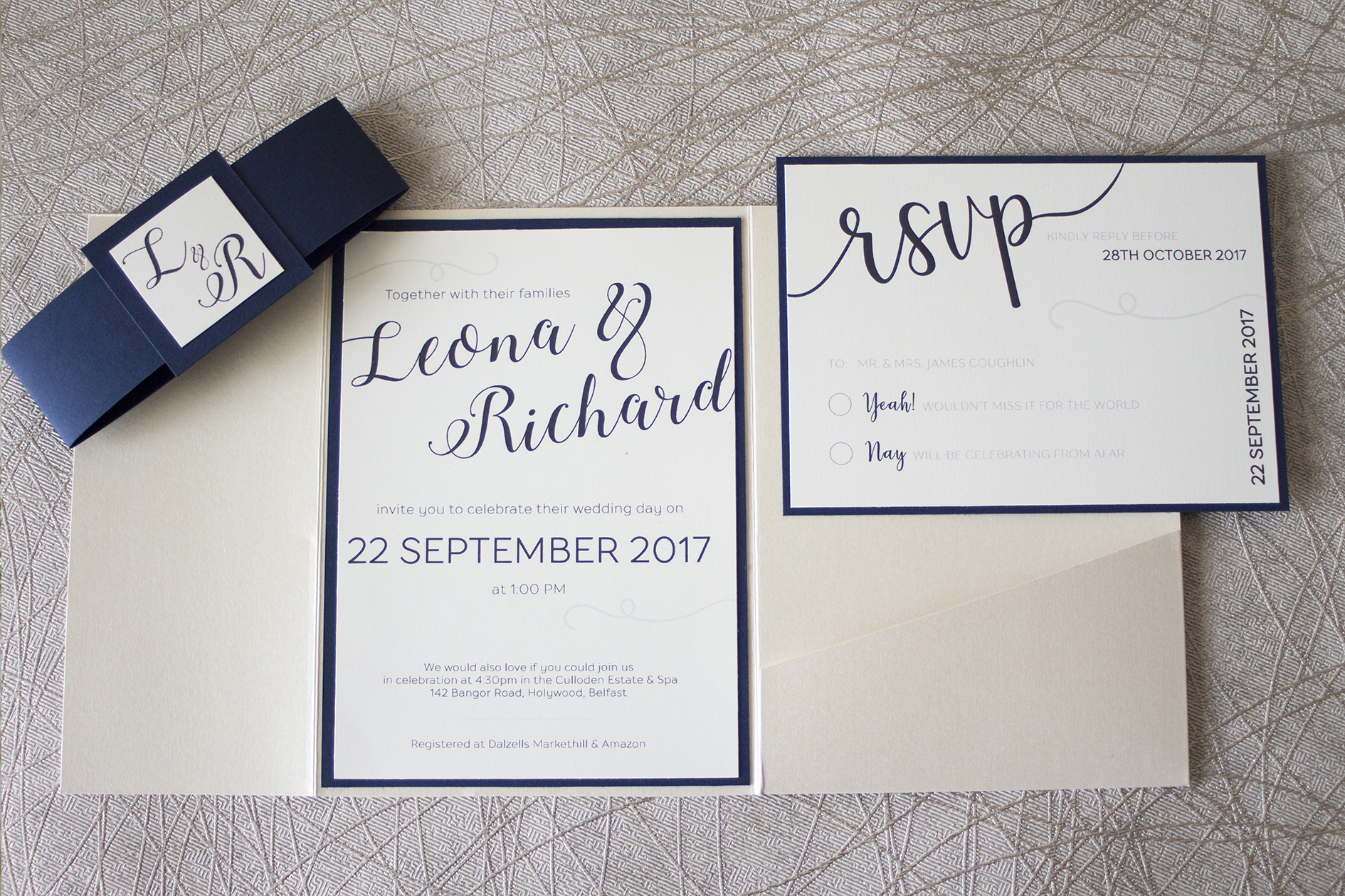 Sample wedding of Leona & Richard - main invite 3