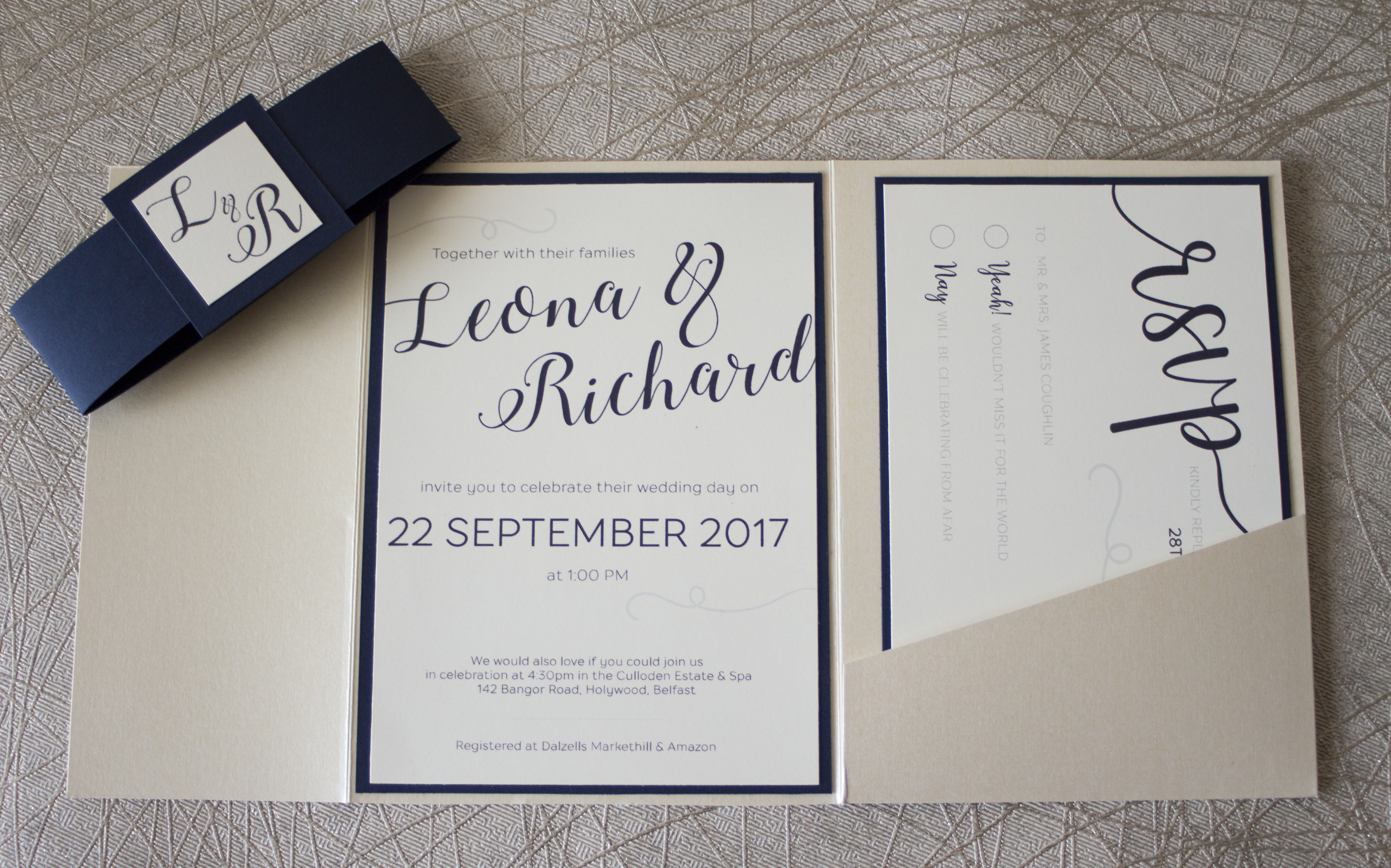 Sample wedding of Leona & Richard - main invite 2